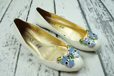 VERSACE H&M WHITE BUTTERFLY LEATHER BALLET FLATS SHOE SCHUHE BALLERINA 39 US8