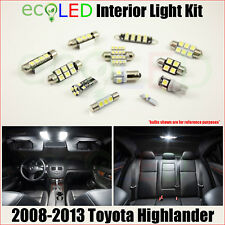 Fits 2008-2013 Toyota Highlander WHITE LED Interior Light Accessories Kit 12 PCS