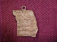 Sterling Silver MISSOURI State Map Charm Kansas City St Louis Springfield NICE!