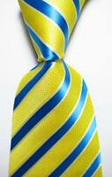 New Classic Striped Yellow Blue JACQUARD WOVEN 100% Silk Men's Tie Necktie