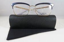 Prada VPR 08S UEE-1O1 Blue/Gold New Authentic Eyeglasses 53mm w/Case