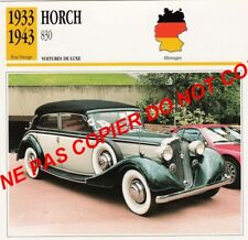 HORCH 1933 LUXE 830 SEDAN-CABRIOLET CAR ALLEMAGNE GERMANY CARTE FICHE
