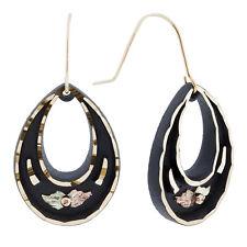 Lovely Black Hills Gold on Black Powder Oval Earrings