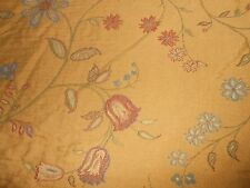 6 Y KRAVET upholstery lampas fabric floral pattern new multicolor on dark yellow