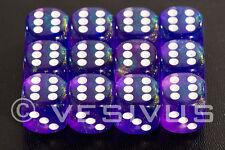 DICE Chessex Borealis PURPLE 12d6 d6 Block Set Clear Sparkle D&D RPG Girl 27607
