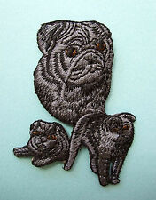 IRON-ON EMBROIDERED PATCH - PUG - BLACK - DOG