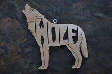 Howling Wolf Nature Woodland Animal  Wood  Christmas Ornament Gift Tag  USA
