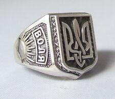 Mens SterlingSilver Ring Size 9,Ukrainian Trident Tryzub,Volia/Freedom,Oxidized