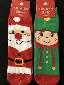 Christmas Socks - One Size - Santa Or Elf - Free Postage