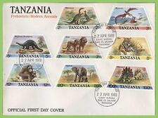 Tanzania 1988 Prehistoric and Modern Animals set on First Day Cover