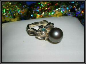 Size 6.5 1970/'s Retro Estate 14k White Gold Ladies Pearl Ring Diamond Accent