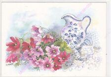 CP ART TABLEAU D LEBEAU Aquarelle fleurs pichet