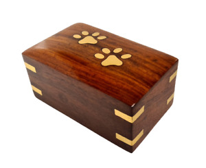 Wooden Pet Urn with Brass Inlay Paw Print Memorial Urn for Dog Ashes 21836W