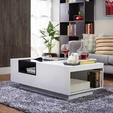 Glass Top Coffee Table Storage Modern Living Room Furniture Two Tone White Black