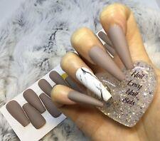 Nude Stone Matte Marble False Fake Extra Long Ballerina Nails Set