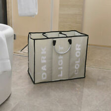 3 Sections Basket Hamper for Laundry Portable Wash Bag Clothes Dirty Storage Bin
