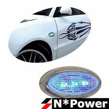 SELF ADHESIVE CHROME SURROUND BLUE LED SIDEMARKERS OVAL UNIVERSAL FIT PAIR
