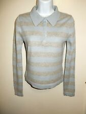 CHANDAIL 100% CASHMERE LIGHT BLUE/GRAY COLLARED SNAP-ON BUTTONS SWEATER S/M