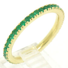 NEW 18k Yellow Gold Stackable .67ctw Rich Green Round Emerald Eternity Band Ring