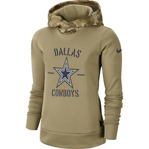 Dallas Cowboys Nike Women's  Khaki Salute to Service Therma Pullover Hoodie