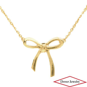 TIFFANY & CO 18K Gold Bow Ribbon Pendant Chain Necklace NR
