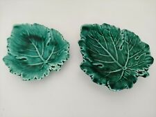 More details for wedgwood of etruria & barlaston small shallow green leaf dish/trinket plate x 2