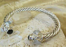 Sterling Silver 925 Large MOONSTONE Onyx 7.5mm Cable Cuff Bracelet Gift Idea!