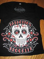 XS... Ladies T-Shirt, PAPACITOS  Bklyn, NY  black w/Day of the Dead Design,