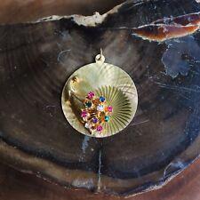 14k Solid Gold 1950s Cornucopia Pendant Rubies Emeralds Sapphire And Diamonds