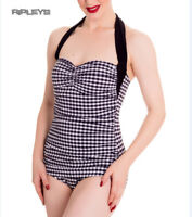 HELL BUNNY Halterneck 50s Black ELSIE Swimsuit Gingham All Sizes