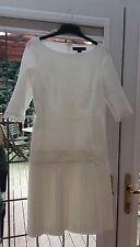 RALPH LAUREN Cream 3/4 Sleeve Pleated Dress CUSTOMISED Lace Size 10 BNWOT