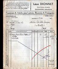 """SAVONNIERES (37) MATERIEL pour LAITERIE FROMAGERIE BEURRERIE """"Léon DIONNET"""" 1937"""