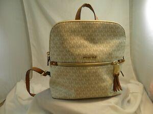 Michael Kors Medium Adina Backpack PVC Leather Vanilla MK Used Designer Bag