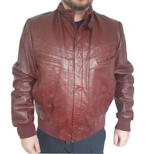 Vintage Wilsons Mens Large Real Leather Bomber Jacket Oxblood Burgundy Biker 48L