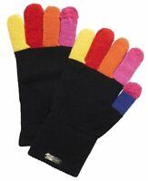 Steve Madden Multicolored Finger Magic Tech Touchscreen Gloves Black NWT