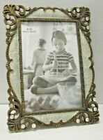 "4X6"" Antique Vintage Style Gold Brass Crystals Enamel Jeweled Picture Frame"