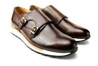IVAN TROY Boris Brown Monk Strap Italian Leather Dress Shoes/Oxford Office Shoes