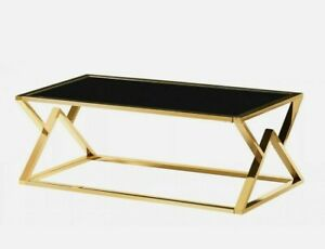 Coffee Table Black Tempered Glass Top Stainless Steel Frame Gold Finish