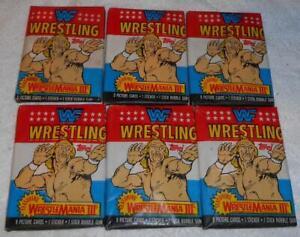 6 Packs of Topps WWF Wrestling Wrestlemania 3 Trading Cards dated 1987