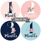 Baby Monthly Stickers | Floral Baby Milestone Stickers | Set of 24 | Newborn | |