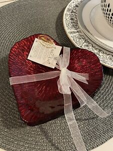 4 Akcam red Glass Heart Appetizer Dessert Plate Dish Set Valentine Love Glitter