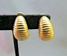 Monet Comfort Clip On Earrings Gold Plated Textured Ribbed Sophisticated Hoop