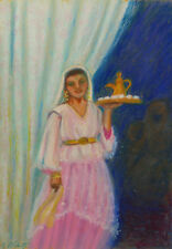 MARCEL BLAIRAT DESSIN PASTEL AQUARELLE FEMME SERVANT THE ORIENTALISME ALGERIE