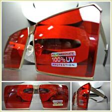 OVERSIZED VINTAGE RETRO Style SUN GLASSES Rose Gold Fashion Frame Rare Red Lens