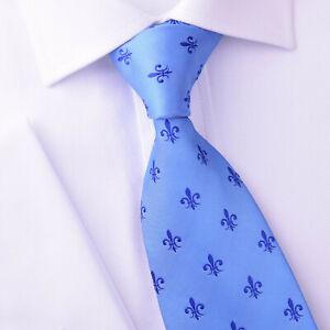 Blue Italian Fleur-De-Lis White Designer Tie 8cm Necktie Mens Accessory Fashion