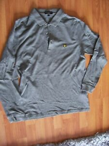 Grey long sleeve cotton polo shirt from Lyle & Scott, size L