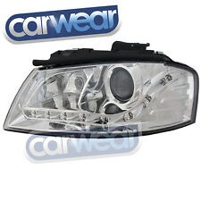 AUDI A3 03-07 8P PROJECTOR DRL R8 STYLE LED HEAD LIGHTS CHROME