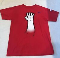 MLB Texas Rangers Baseball Claw & Antlers Red Majestic Short Sleeve Tshirt Sz L