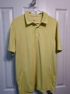 Men's Puma Golf Polo Shirt Size Large Yellow Cool Cell Sport Lifestyle