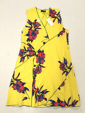 Proenza Schouler Women Printed Crepe Georgette Dress Yellow GG8 Size 12 NWT $990